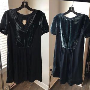 indigo blue dress with velvet detail, size S
